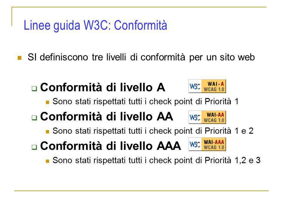 SI definiscono tre livelli di conformità per un sito web  Conformità di livello A Sono stati rispettati tutti i check point di Priorità 1  Conformità di livello AA Sono stati rispettati tutti i check point di Priorità 1 e 2  Conformità di livello AAA Sono stati rispettati tutti i check point di Priorità 1,2 e 3 Linee guida W3C: Conformità