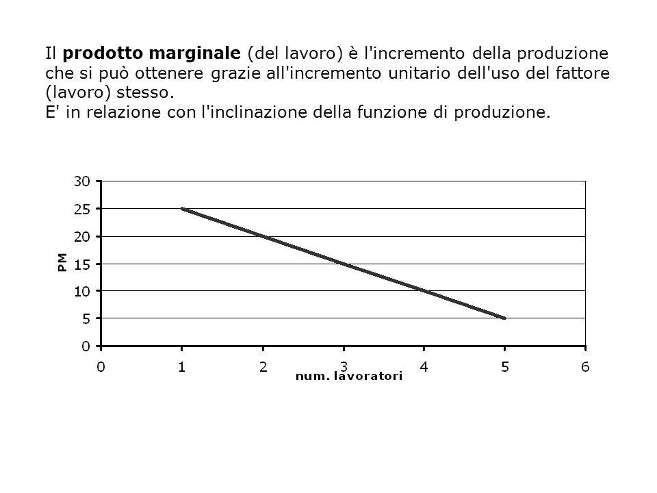 Il prodotto marginale (del lavoro) è l'incremento della produzione che si può ottenere grazie all'incremento unitario dell'uso del fattore (lavoro) st