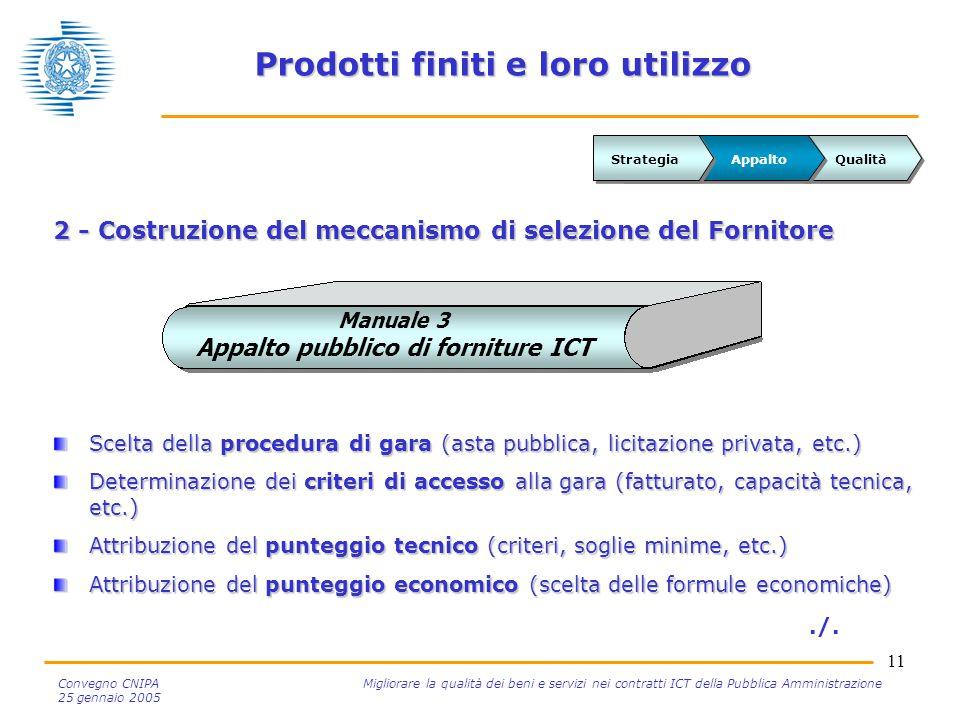 11 Convegno CNIPA Migliorare la qualità dei beni e servizi nei contratti ICT della Pubblica Amministrazione 25 gennaio 2005 Prodotti finiti e loro uti