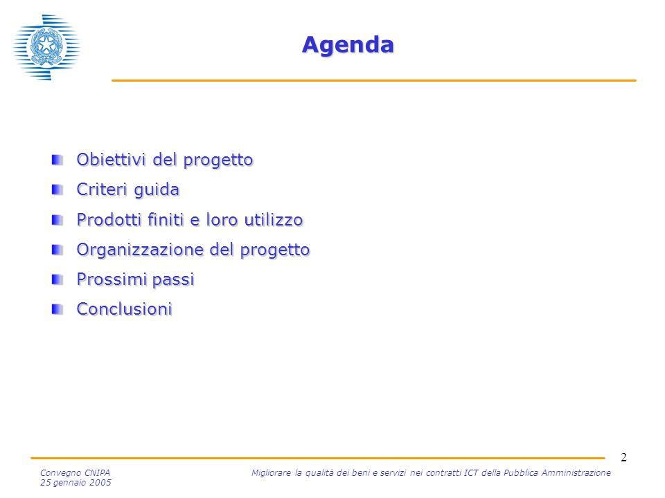 2 Convegno CNIPA Migliorare la qualità dei beni e servizi nei contratti ICT della Pubblica Amministrazione 25 gennaio 2005 Agenda Obiettivi del proget