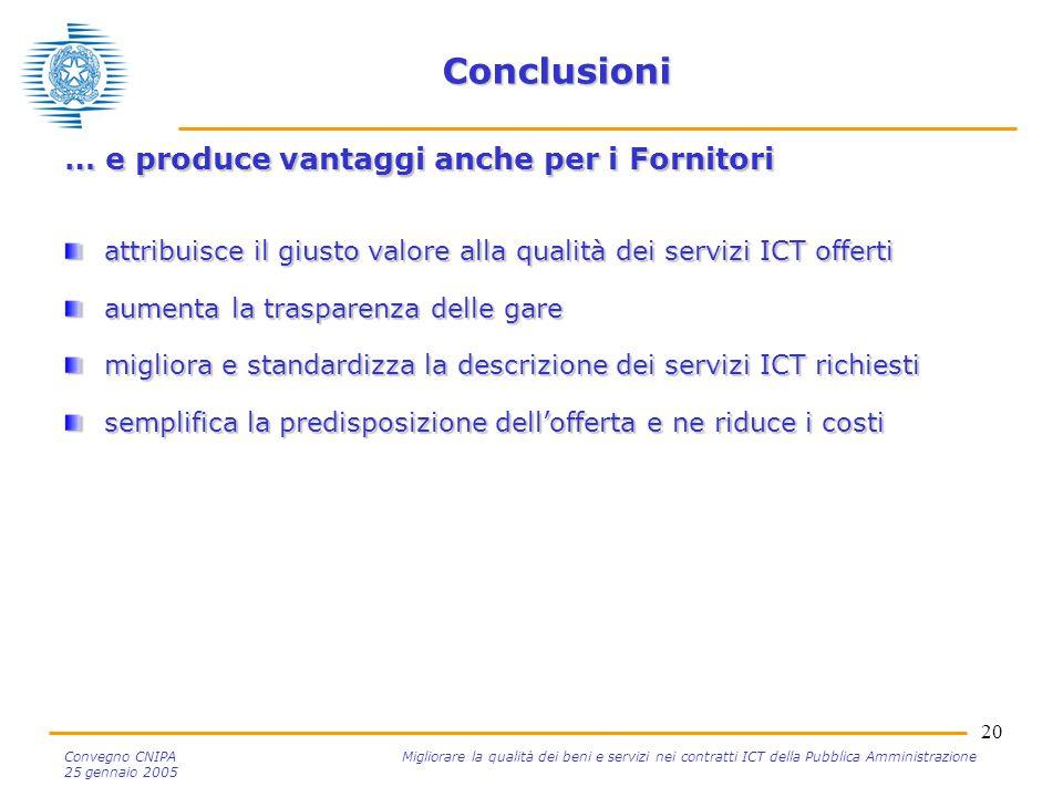 20 Convegno CNIPA Migliorare la qualità dei beni e servizi nei contratti ICT della Pubblica Amministrazione 25 gennaio 2005 Conclusioni … e produce va