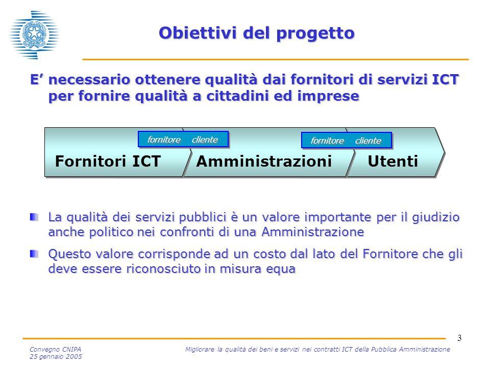 3 Convegno CNIPA Migliorare la qualità dei beni e servizi nei contratti ICT della Pubblica Amministrazione 25 gennaio 2005 Obiettivi del progetto E' n