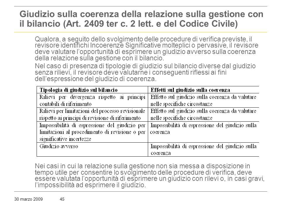 30 marzo 200945 Giudizio sulla coerenza della relazione sulla gestione con il bilancio (Art.