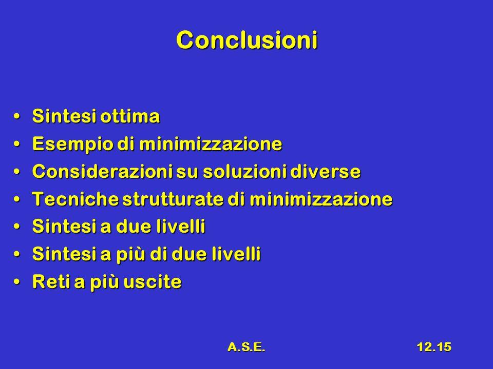 A.S.E.12.15 Conclusioni Sintesi ottimaSintesi ottima Esempio di minimizzazioneEsempio di minimizzazione Considerazioni su soluzioni diverseConsiderazi