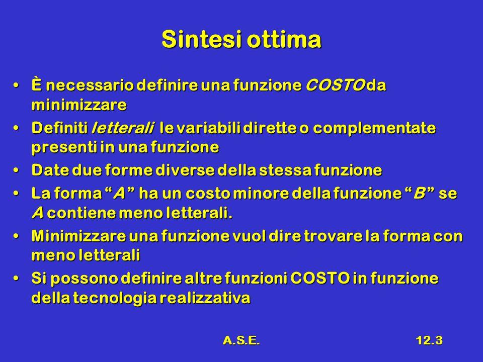 A.S.E.12.3 Sintesi ottima È necessario definire una funzione COSTO da minimizzareÈ necessario definire una funzione COSTO da minimizzare Definiti lett