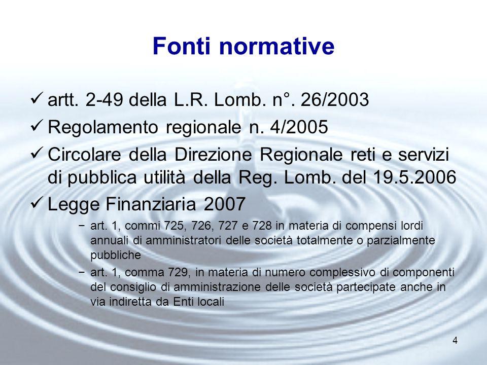 4 Fonti normative artt. 2-49 della L.R. Lomb. n°.