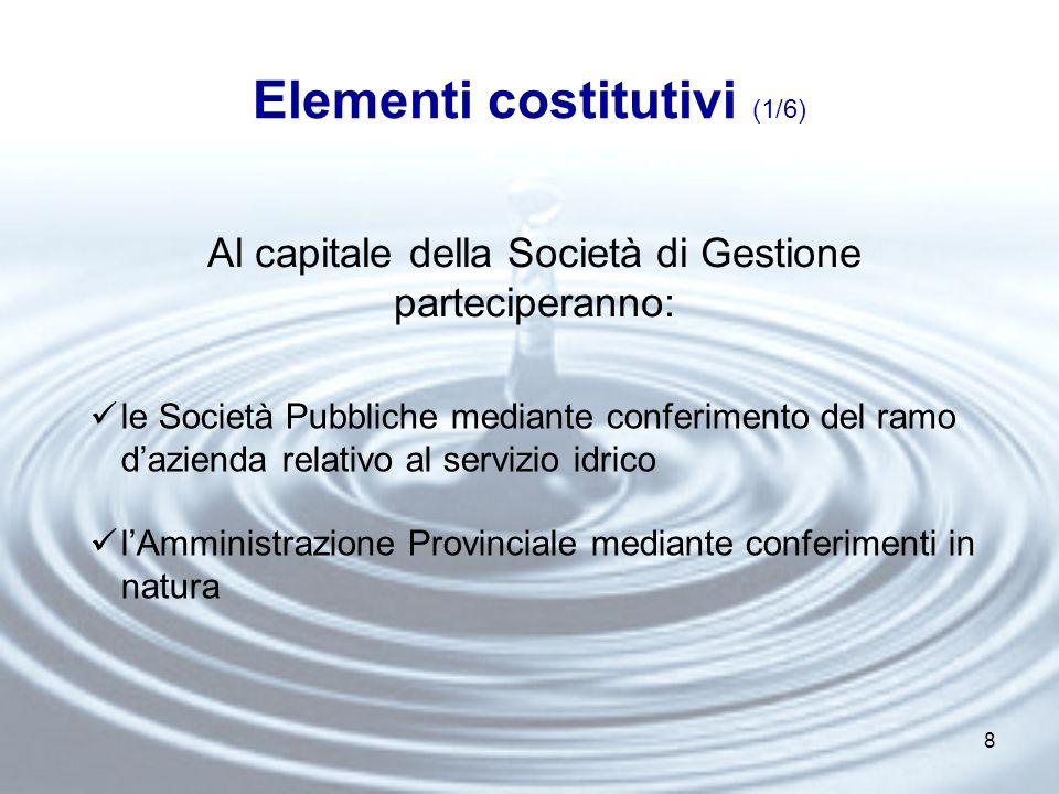 8 Elementi costitutivi (1/6) Al capitale della Società di Gestione parteciperanno: le Società Pubbliche mediante conferimento del ramo d'azienda relativo al servizio idrico l'Amministrazione Provinciale mediante conferimenti in natura