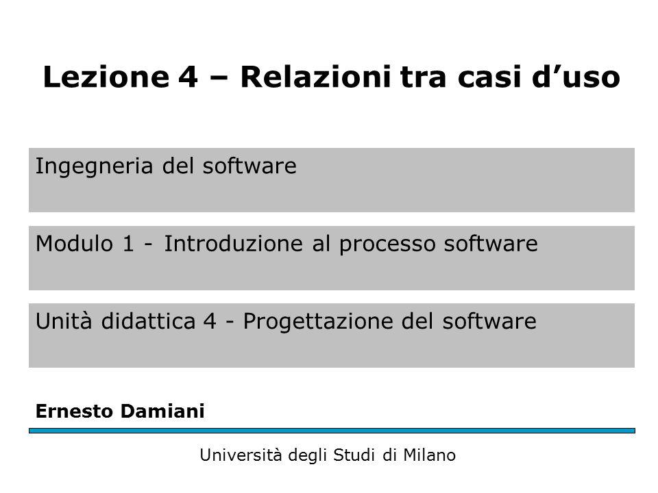 Relazioni tra casi d'uso Per una rappresentazione più chiara e compatta dell'insieme dei casi d'uso di un sistema si possono utilizzare (UML 1999) tre tipi di relazioni – Usa – Estende – Generalizza