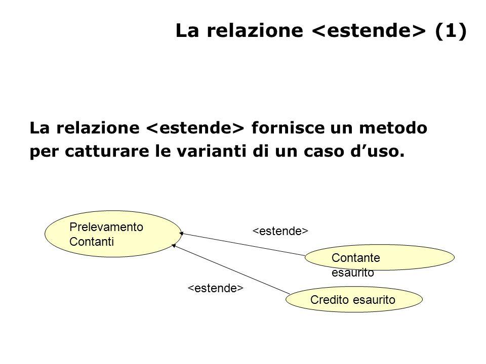 La relazione (1) La relazione fornisce un metodo per catturare le varianti di un caso d'uso.