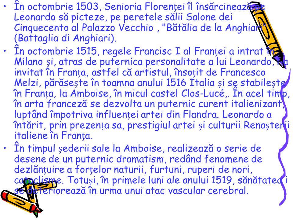 În octombrie 1503, Senioria Florenei îl însărcinează pe Leonardo să picteze, pe peretele sălii Salone dei Cinquecento al Palazzo Vecchio,