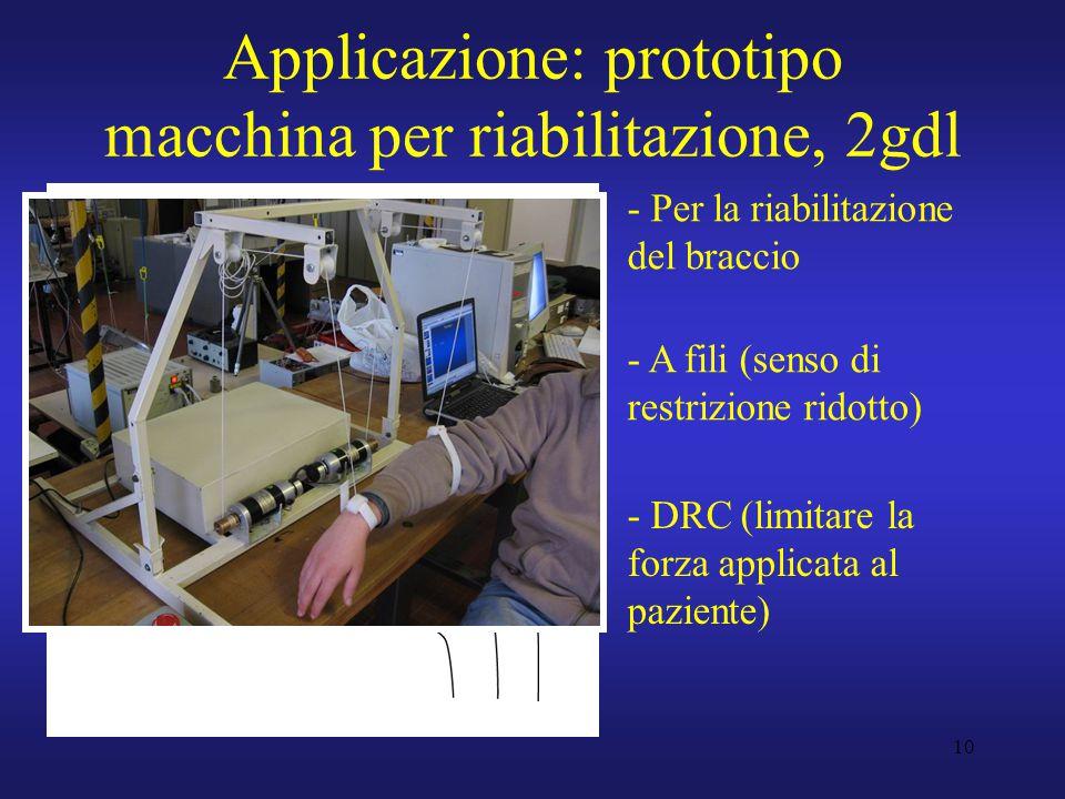 10 Applicazione: prototipo macchina per riabilitazione, 2gdl - Per la riabilitazione del braccio - A fili (senso di restrizione ridotto) - DRC (limita