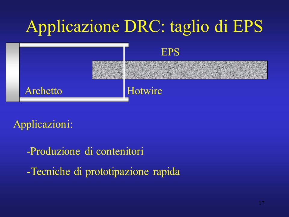 17 Applicazione DRC: taglio di EPS EPS ArchettoHotwire Applicazioni: -Produzione di contenitori -Tecniche di prototipazione rapida