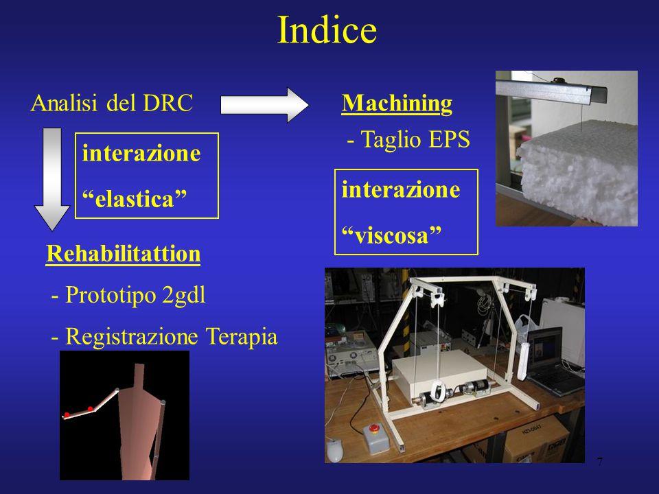 """7 Indice Analisi del DRC Rehabilitattion Machining - Taglio EPS - Prototipo 2gdl - Registrazione Terapia interazione """"elastica"""" interazione """"viscosa"""""""