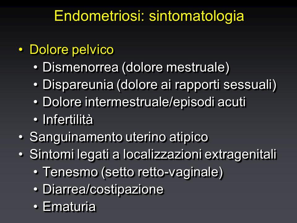 Endometriosi: sintomatologia Dolore pelvicoDolore pelvico Dismenorrea (dolore mestruale)Dismenorrea (dolore mestruale) Dispareunia (dolore ai rapporti sessuali)Dispareunia (dolore ai rapporti sessuali) Dolore intermestruale/episodi acutiDolore intermestruale/episodi acuti InfertilitàInfertilità Sanguinamento uterino atipicoSanguinamento uterino atipico Sintomi legati a localizzazioni extragenitaliSintomi legati a localizzazioni extragenitali Tenesmo (setto retto-vaginale)Tenesmo (setto retto-vaginale) Diarrea/costipazioneDiarrea/costipazione EmaturiaEmaturia Dolore pelvicoDolore pelvico Dismenorrea (dolore mestruale)Dismenorrea (dolore mestruale) Dispareunia (dolore ai rapporti sessuali)Dispareunia (dolore ai rapporti sessuali) Dolore intermestruale/episodi acutiDolore intermestruale/episodi acuti InfertilitàInfertilità Sanguinamento uterino atipicoSanguinamento uterino atipico Sintomi legati a localizzazioni extragenitaliSintomi legati a localizzazioni extragenitali Tenesmo (setto retto-vaginale)Tenesmo (setto retto-vaginale) Diarrea/costipazioneDiarrea/costipazione EmaturiaEmaturia