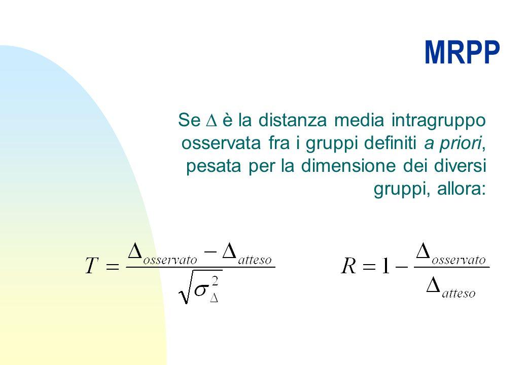 MRPP Se  è la distanza media intragruppo osservata fra i gruppi definiti a priori, pesata per la dimensione dei diversi gruppi, allora: