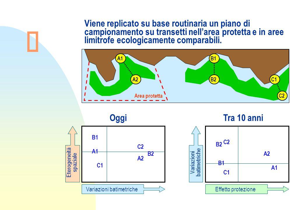 Viene replicato su base routinaria un piano di campionamento su transetti nell'area protetta e in aree limitrofe ecologicamente comparabili.