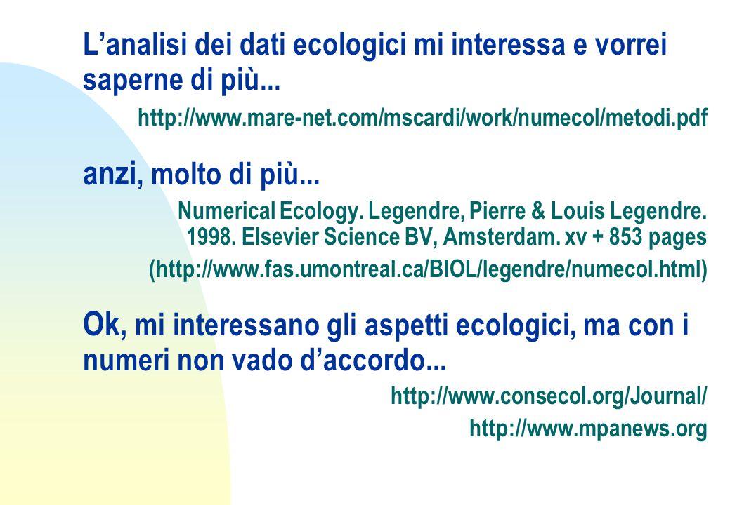L'analisi dei dati ecologici mi interessa e vorrei saperne di più...