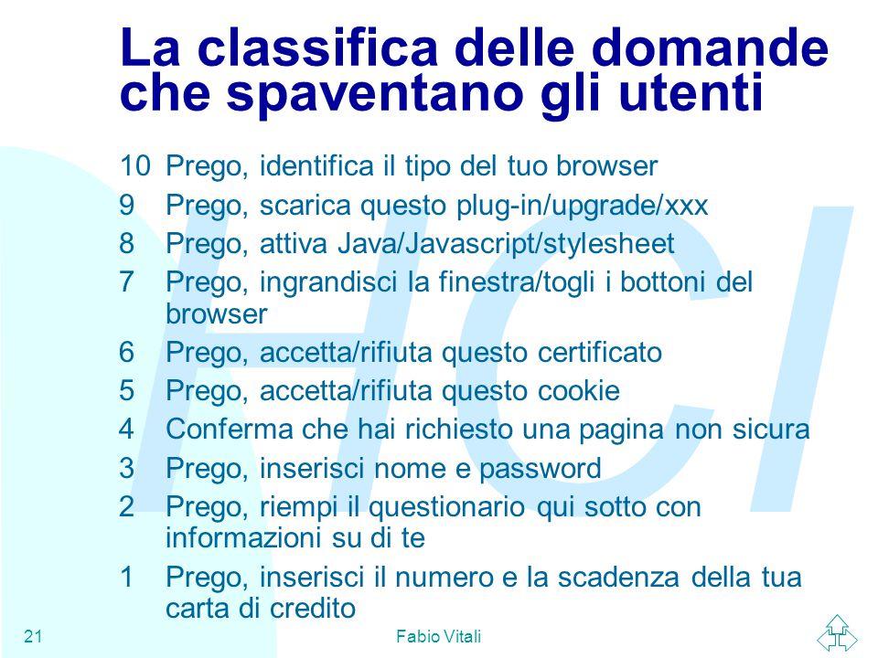 HCI Fabio Vitali21 La classifica delle domande che spaventano gli utenti 10Prego, identifica il tipo del tuo browser 9Prego, scarica questo plug-in/upgrade/xxx 8Prego, attiva Java/Javascript/stylesheet 7Prego, ingrandisci la finestra/togli i bottoni del browser 6Prego, accetta/rifiuta questo certificato 5Prego, accetta/rifiuta questo cookie 4Conferma che hai richiesto una pagina non sicura 3Prego, inserisci nome e password 2Prego, riempi il questionario qui sotto con informazioni su di te 1Prego, inserisci il numero e la scadenza della tua carta di credito