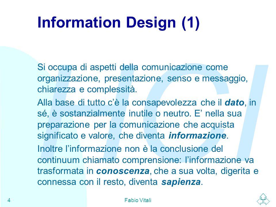 HCI Fabio Vitali4 Information Design (1) Si occupa di aspetti della comunicazione come organizzazione, presentazione, senso e messaggio, chiarezza e c