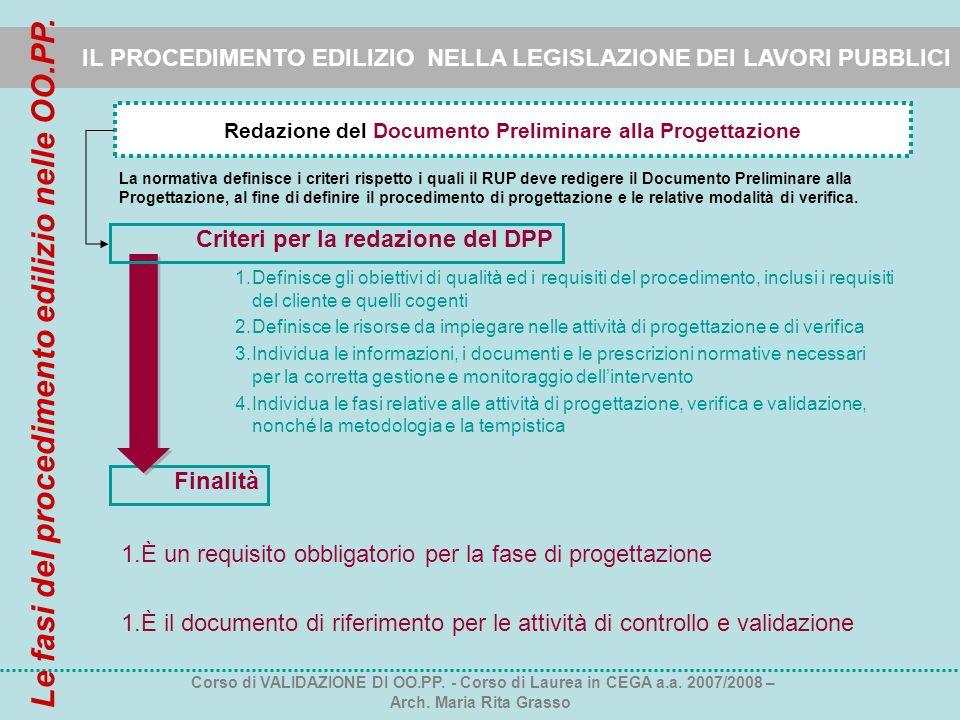 IL PROCEDIMENTO EDILIZIO NELLA LEGISLAZIONE DEI LAVORI PUBBLICI Redazione del Documento Preliminare alla Progettazione Finalità La normativa definisce