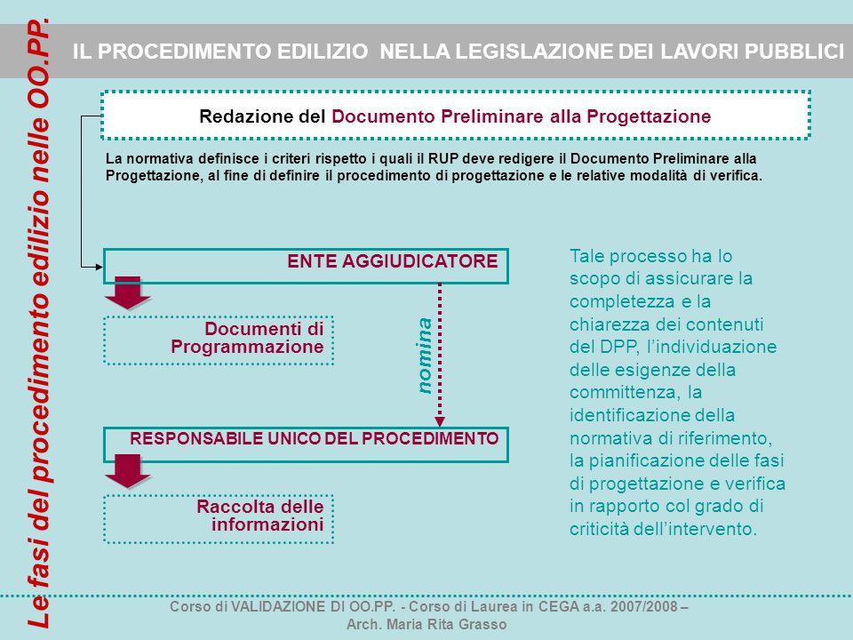 IL PROCEDIMENTO EDILIZIO NELLA LEGISLAZIONE DEI LAVORI PUBBLICI Redazione del Documento Preliminare alla Progettazione La normativa definisce i criter