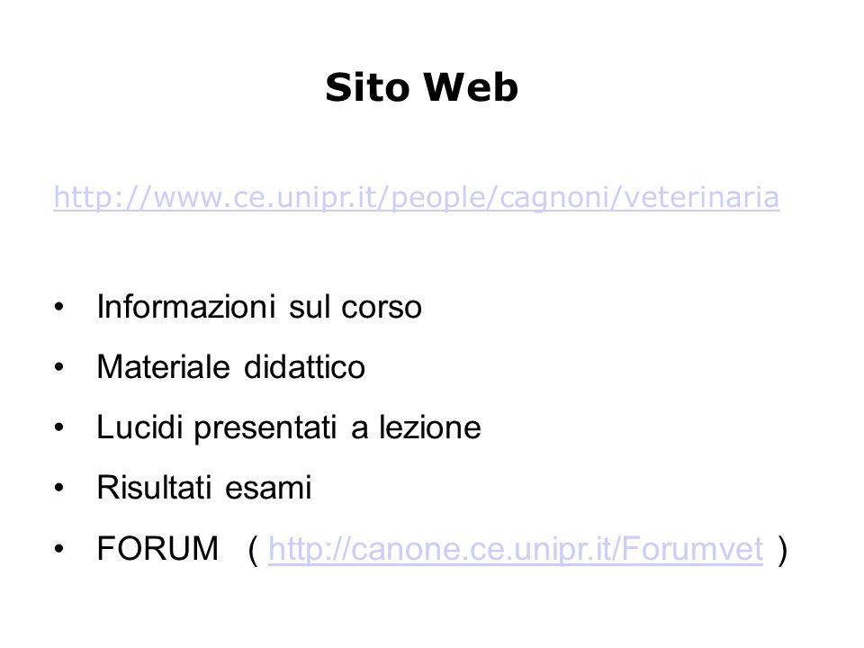 Sito Web http://www.ce.unipr.it/people/cagnoni/veterinaria Informazioni sul corso Materiale didattico Lucidi presentati a lezione Risultati esami FORUM ( http://canone.ce.unipr.it/Forumvet )http://canone.ce.unipr.it/Forumvet