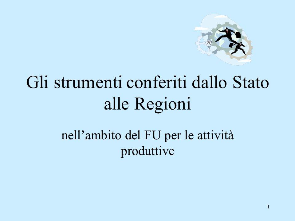 1 Gli strumenti conferiti dallo Stato alle Regioni nell'ambito del FU per le attività produttive