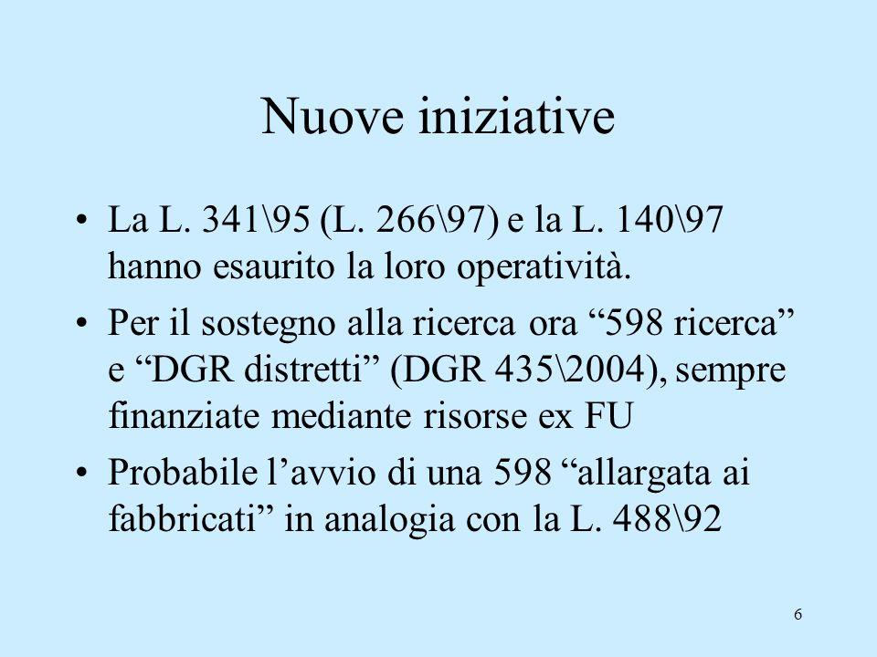 6 Nuove iniziative La L.341\95 (L. 266\97) e la L.