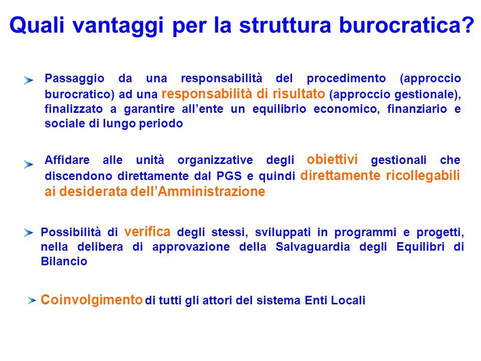 Quali vantaggi per la struttura burocratica? Possibilità di verifica degli stessi, sviluppati in programmi e progetti, nella delibera di approvazione