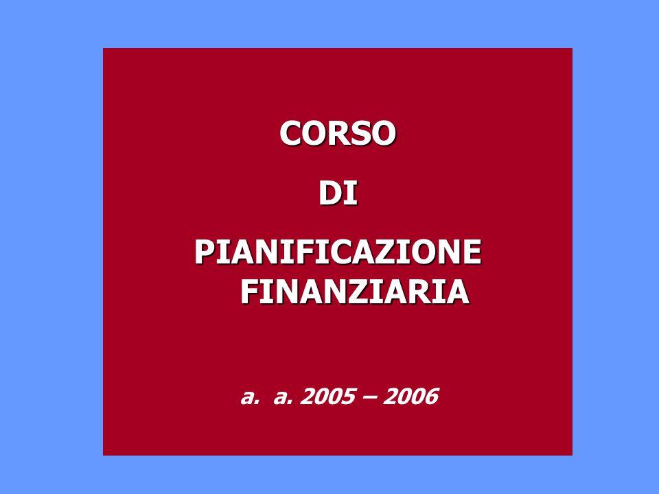 CORSODI PIANIFICAZIONE FINANZIARIA a.a. 2005 – 2006
