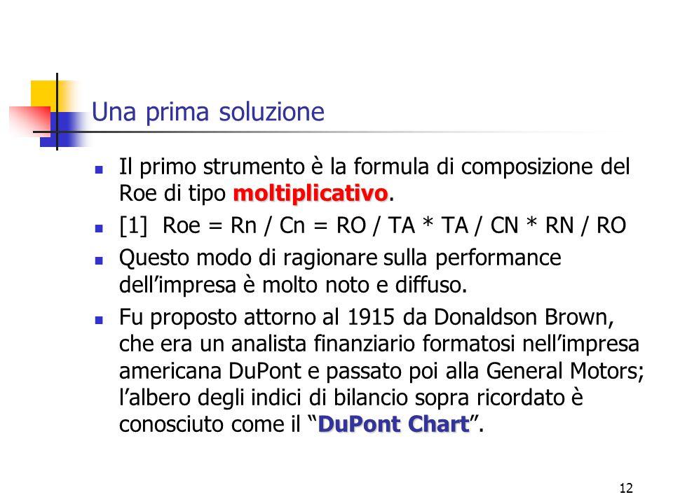 12 Una prima soluzione moltiplicativo Il primo strumento è la formula di composizione del Roe di tipo moltiplicativo.