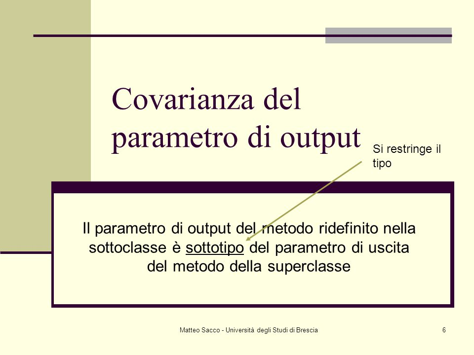Matteo Sacco - Università degli Studi di Brescia6 Covarianza del parametro di output Il parametro di output del metodo ridefinito nella sottoclasse è