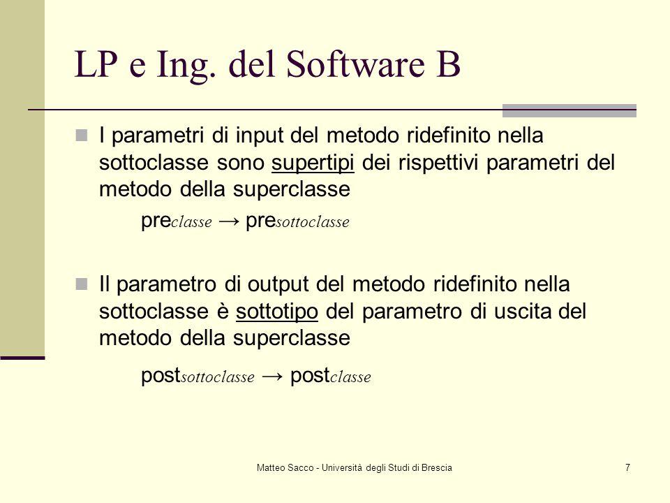 Matteo Sacco - Università degli Studi di Brescia7 LP e Ing. del Software B I parametri di input del metodo ridefinito nella sottoclasse sono supertipi