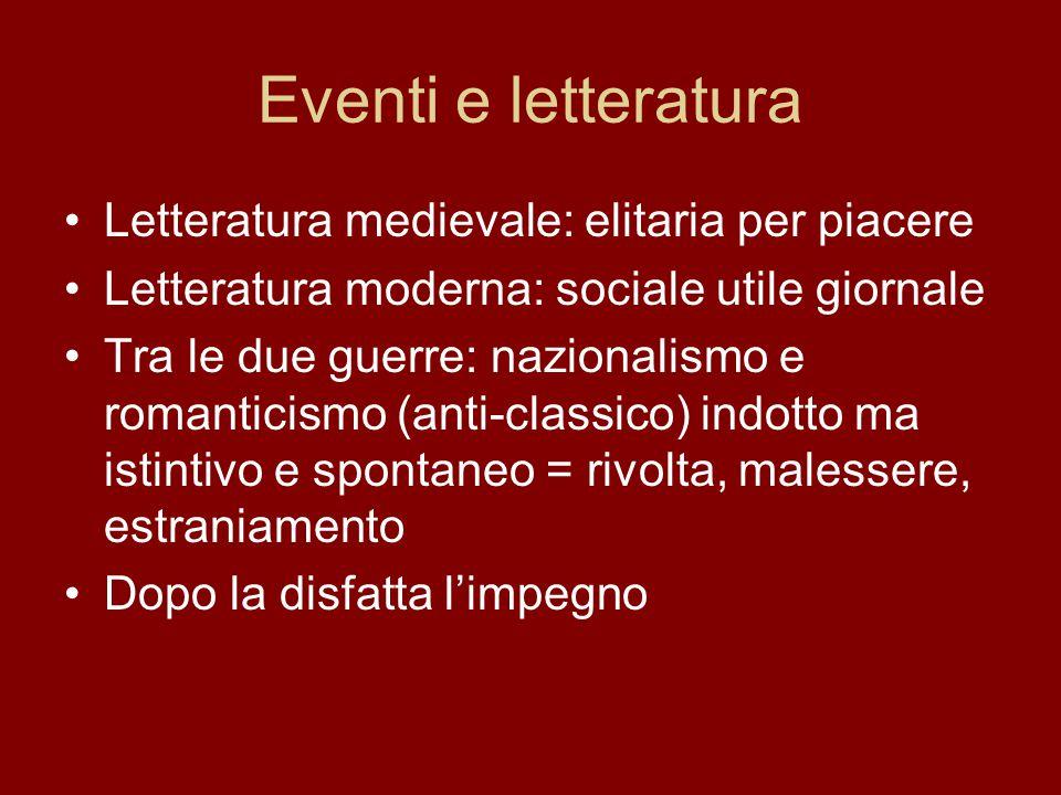 Eventi e letteratura Letteratura medievale: elitaria per piacere Letteratura moderna: sociale utile giornale Tra le due guerre: nazionalismo e romanti