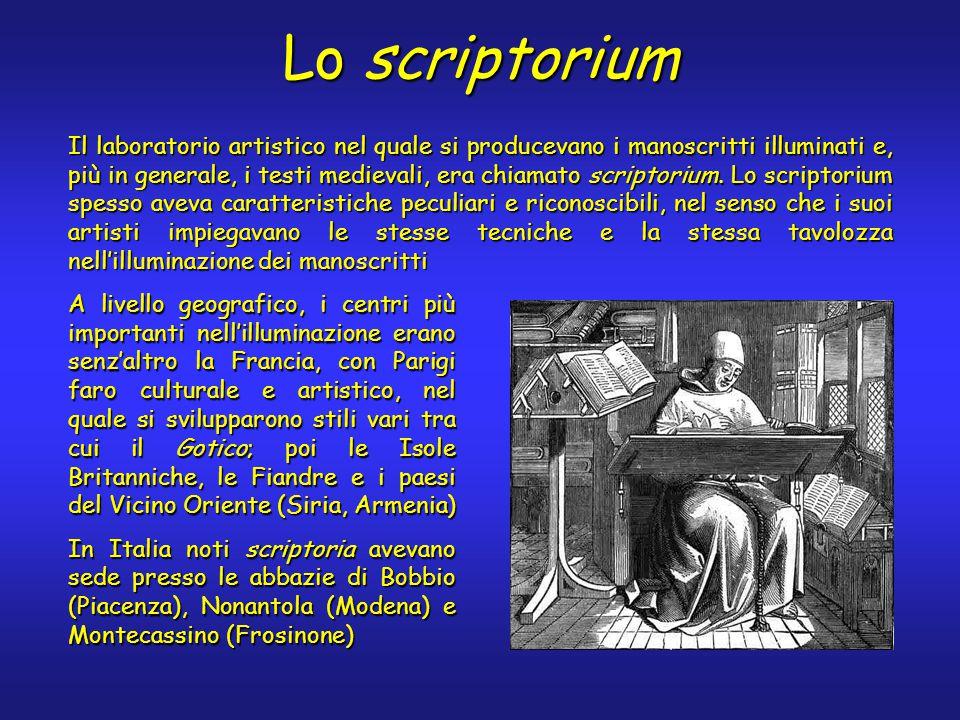 Lo scriptorium Il laboratorio artistico nel quale si producevano i manoscritti illuminati e, più in generale, i testi medievali, era chiamato scriptorium.