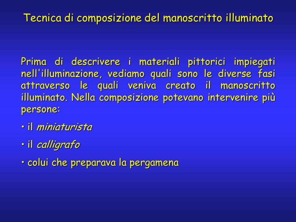 Tecnica di composizione del manoscritto illuminato Prima di descrivere i materiali pittorici impiegati nell illuminazione, vediamo quali sono le diverse fasi attraverso le quali veniva creato il manoscritto illuminato.