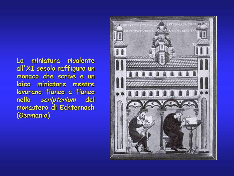 La miniatura risalente all XI secolo raffigura un monaco che scrive e un laico miniatore mentre lavorano fianco a fianco nello scriptorium del monastero di Echternach (Germania)