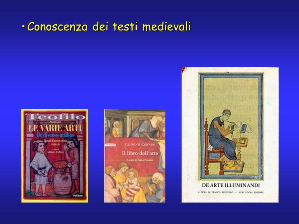 La maggior parte dei trattati medievali sulle tecniche artistiche (così come sulle discipline scientifiche) sono opera di religiosi, in quanto nel Medioevo essi avevano quasi il monopolio della scienza chimica.