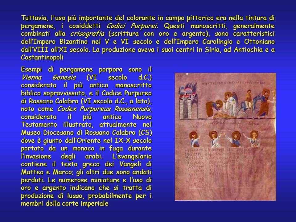 Tuttavia, l uso più importante del colorante in campo pittorico era nella tintura di pergamene, i cosiddetti Codici Purpurei.