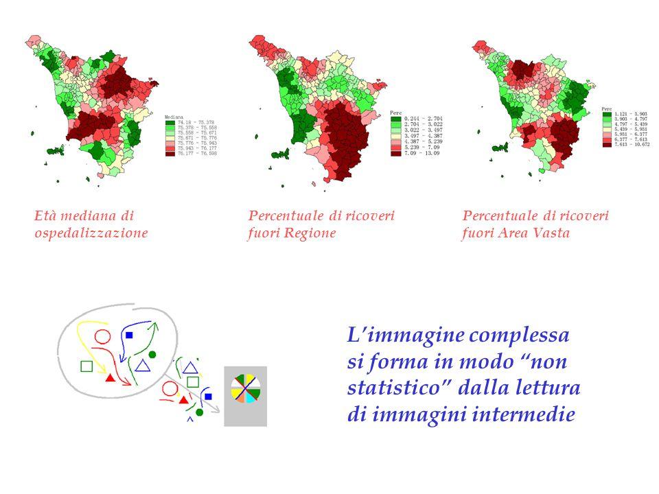 Età mediana di ospedalizzazione Percentuale di ricoveri fuori Area Vasta Percentuale di ricoveri fuori Regione L'immagine complessa si forma in modo non statistico dalla lettura di immagini intermedie