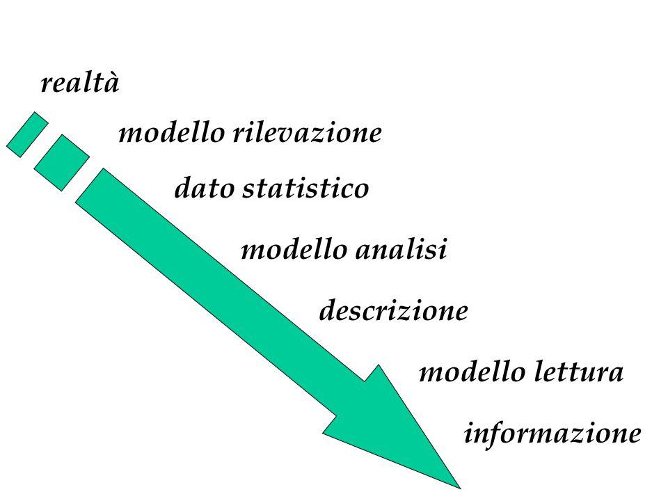 dato statistico realtà modello rilevazione modello analisi descrizione modello lettura informazione