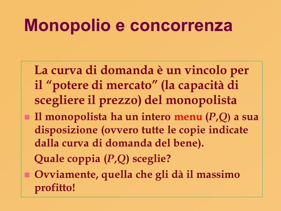 """Monopolio e concorrenza La curva di domanda è un vincolo per il """"potere di mercato"""" (la capacità di scegliere il prezzo) del monopolista n Il monopoli"""