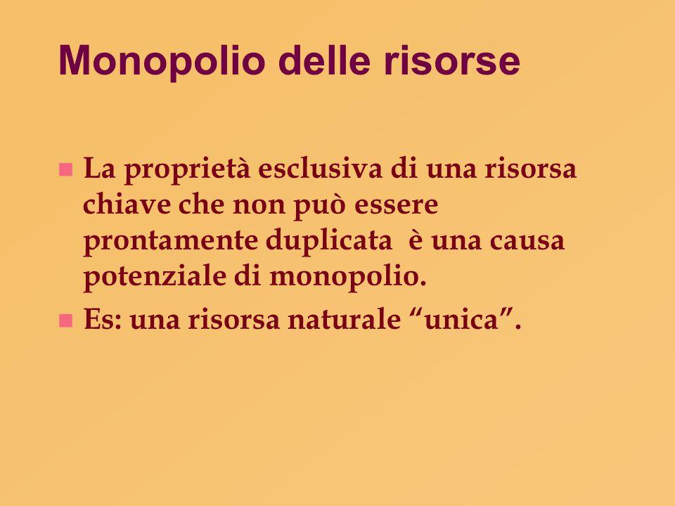 Monopolio delle risorse n La proprietà esclusiva di una risorsa chiave che non può essere prontamente duplicata è una causa potenziale di monopolio. n