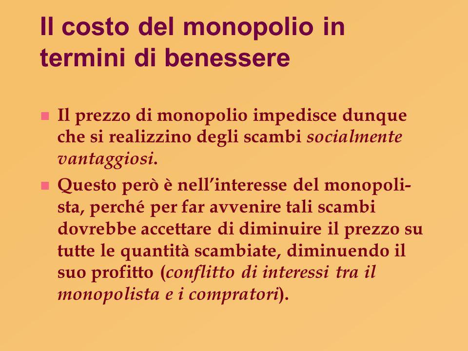 Il costo del monopolio in termini di benessere n Il prezzo di monopolio impedisce dunque che si realizzino degli scambi socialmente vantaggiosi. n Que
