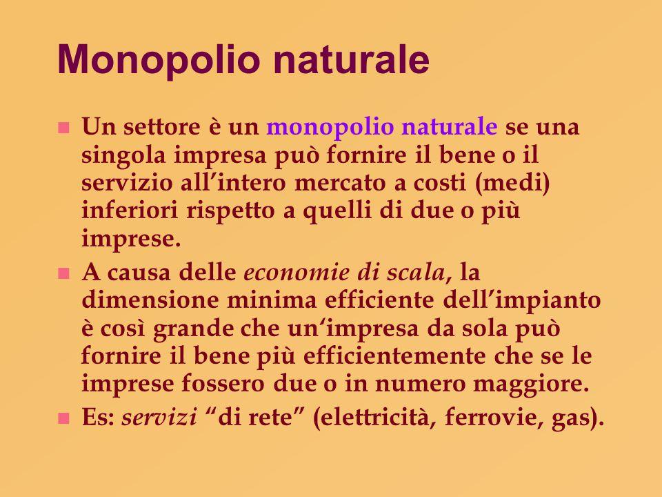 Monopolio naturale n Un settore è un monopolio naturale se una singola impresa può fornire il bene o il servizio all'intero mercato a costi (medi) inf