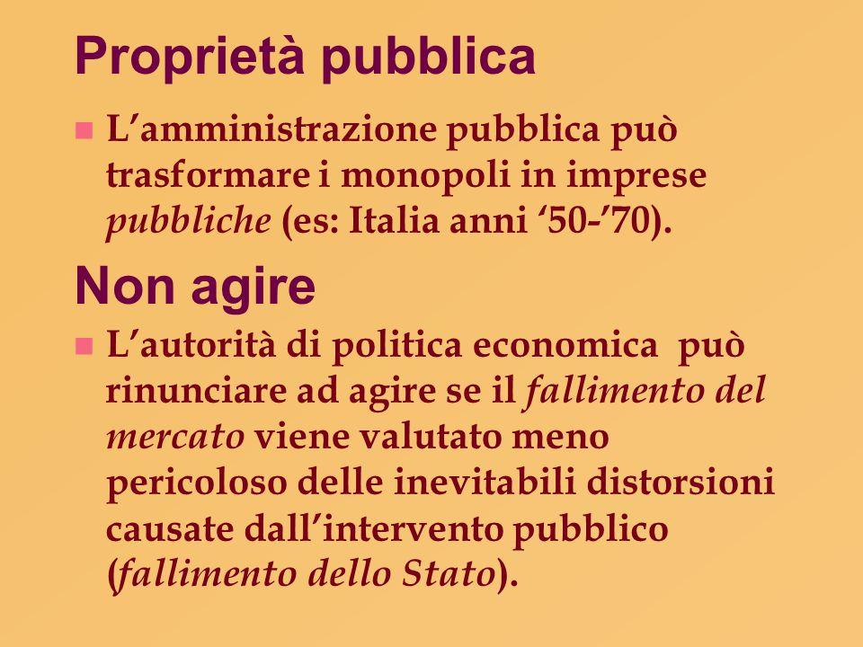Proprietà pubblica n L'amministrazione pubblica può trasformare i monopoli in imprese pubbliche (es: Italia anni '50-'70). Non agire n L'autorità di p