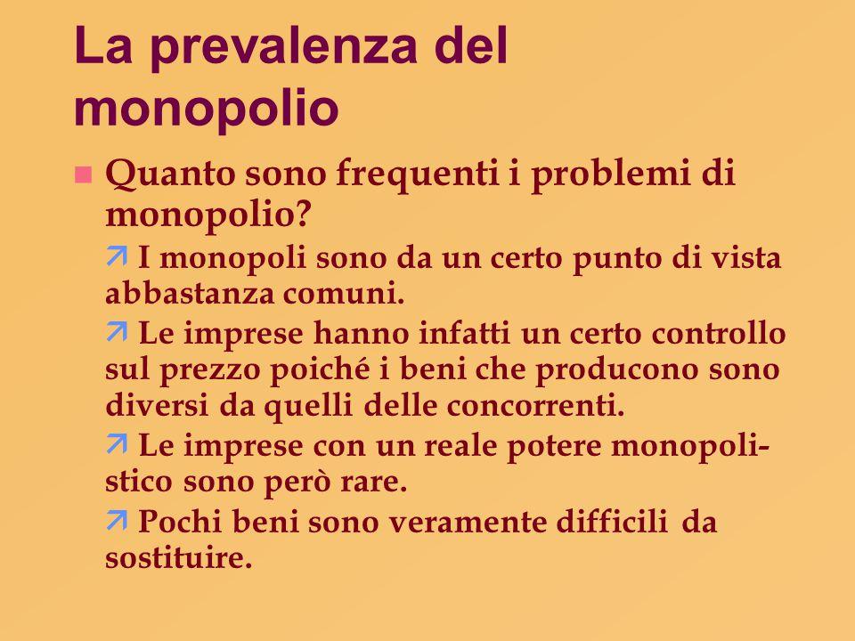 La prevalenza del monopolio n Quanto sono frequenti i problemi di monopolio?  I monopoli sono da un certo punto di vista abbastanza comuni.  Le impr