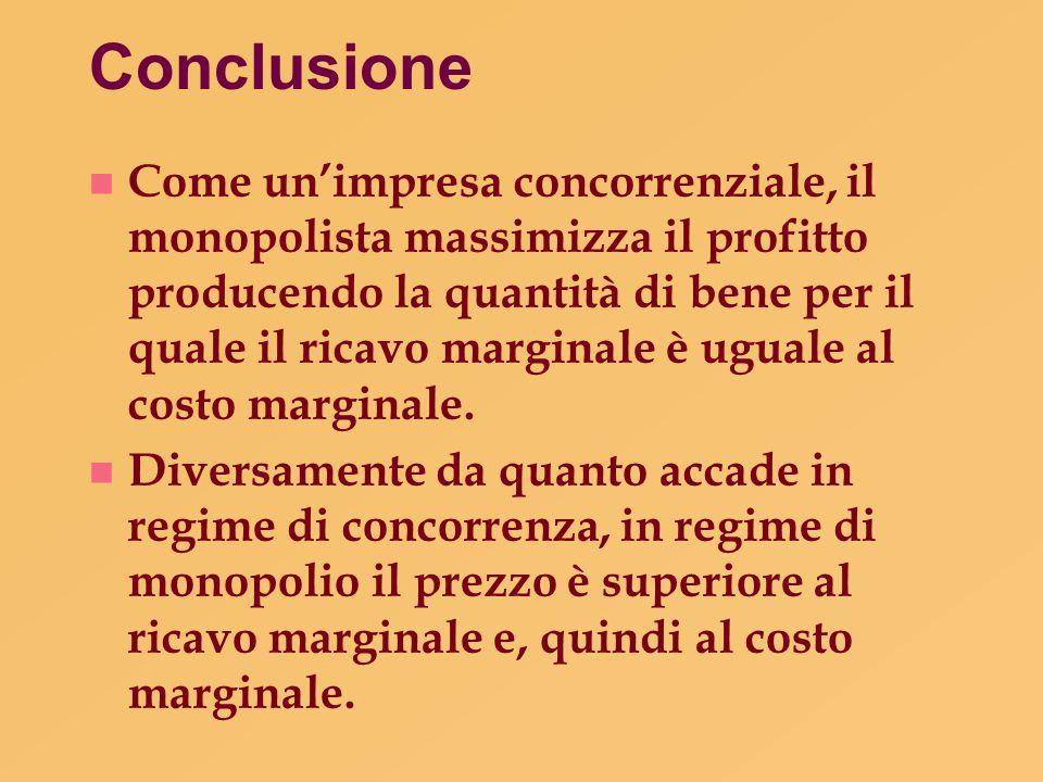 Conclusione n Come un'impresa concorrenziale, il monopolista massimizza il profitto producendo la quantità di bene per il quale il ricavo marginale è