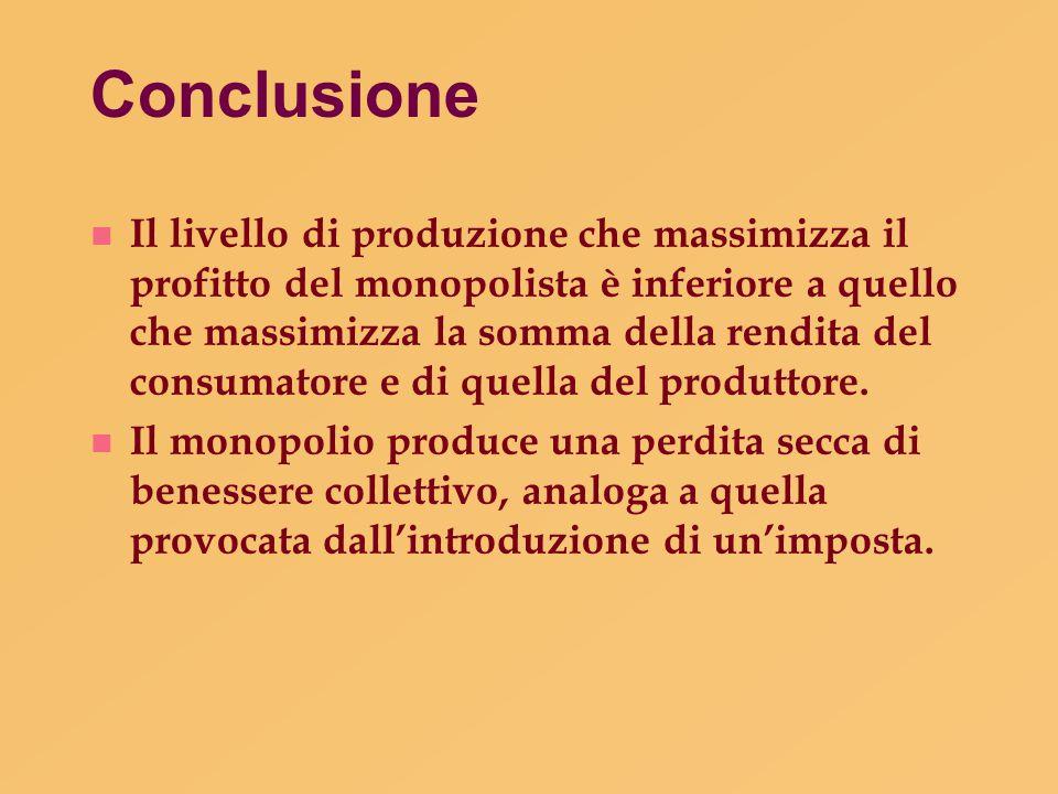 Conclusione n Il livello di produzione che massimizza il profitto del monopolista è inferiore a quello che massimizza la somma della rendita del consu