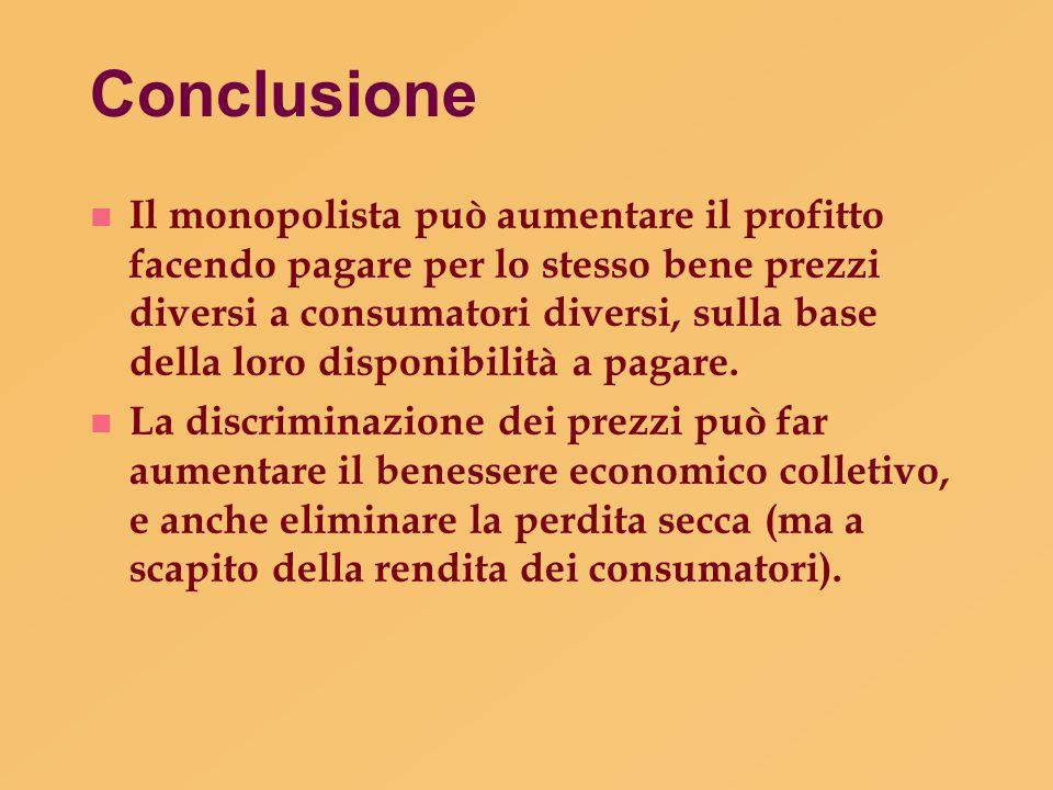 Conclusione n Il monopolista può aumentare il profitto facendo pagare per lo stesso bene prezzi diversi a consumatori diversi, sulla base della loro d